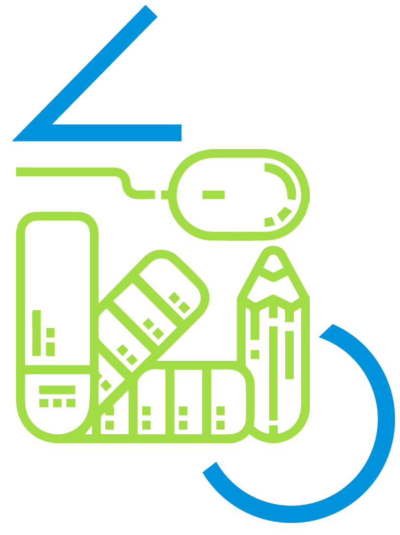 Icono de diseño web en color verde y azul