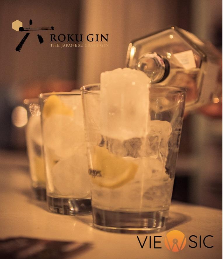 Botella de Roku Gin, colaborador de Viewsic