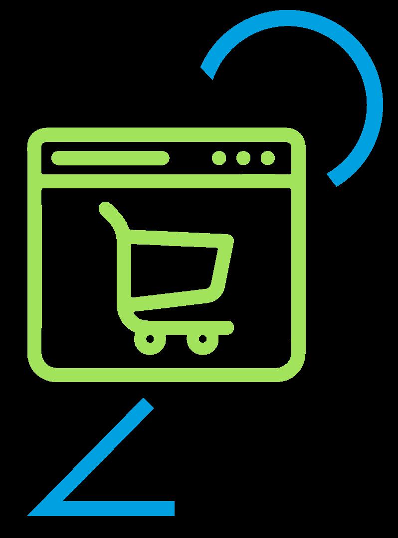 Icono de diseño de tienda online en color verde y azul
