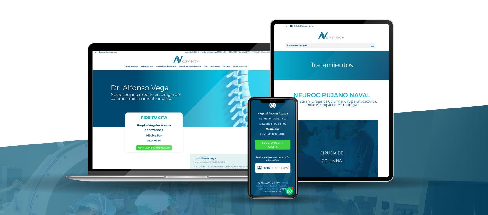 Diseño web a medida para el Dr. Alfonso Vega