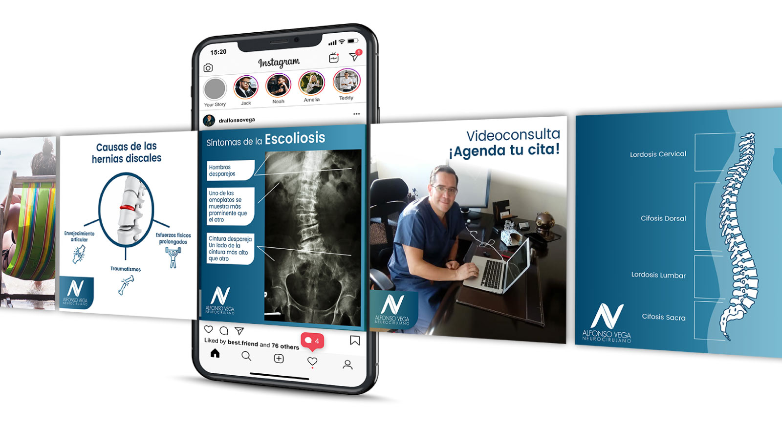 Diseño gráfico para el canal Social Media del Dr. Alfonso Vega