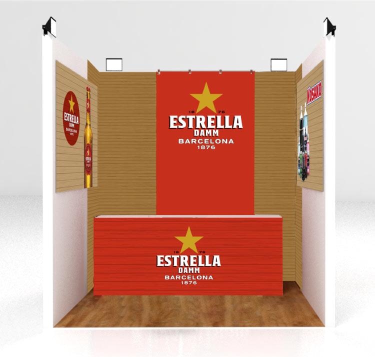 Diseño de stand para eventos de Estrella Damm de Grupo Kosako
