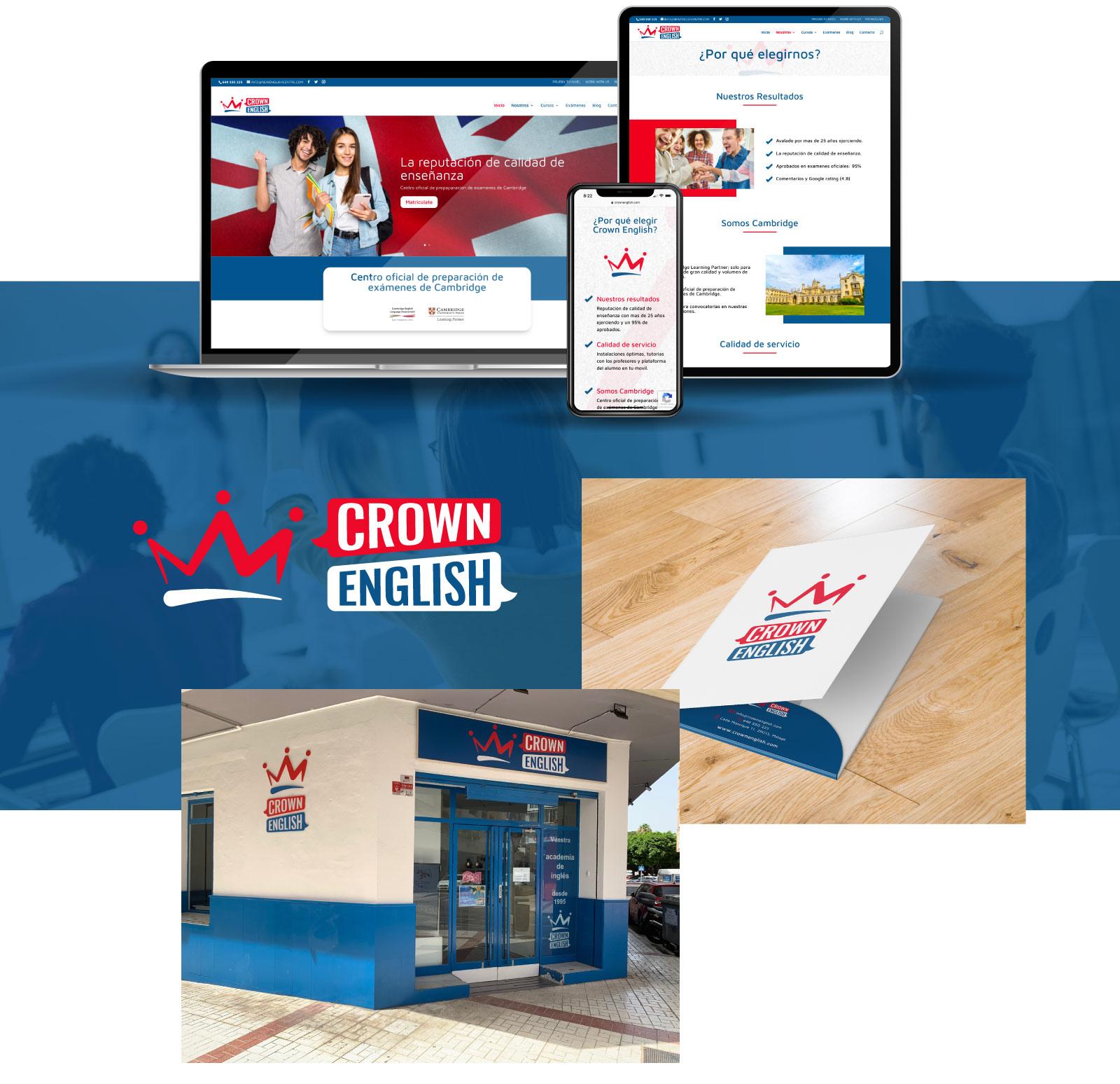 Diseño web a medida y nueva identidad corporativa para Crown English